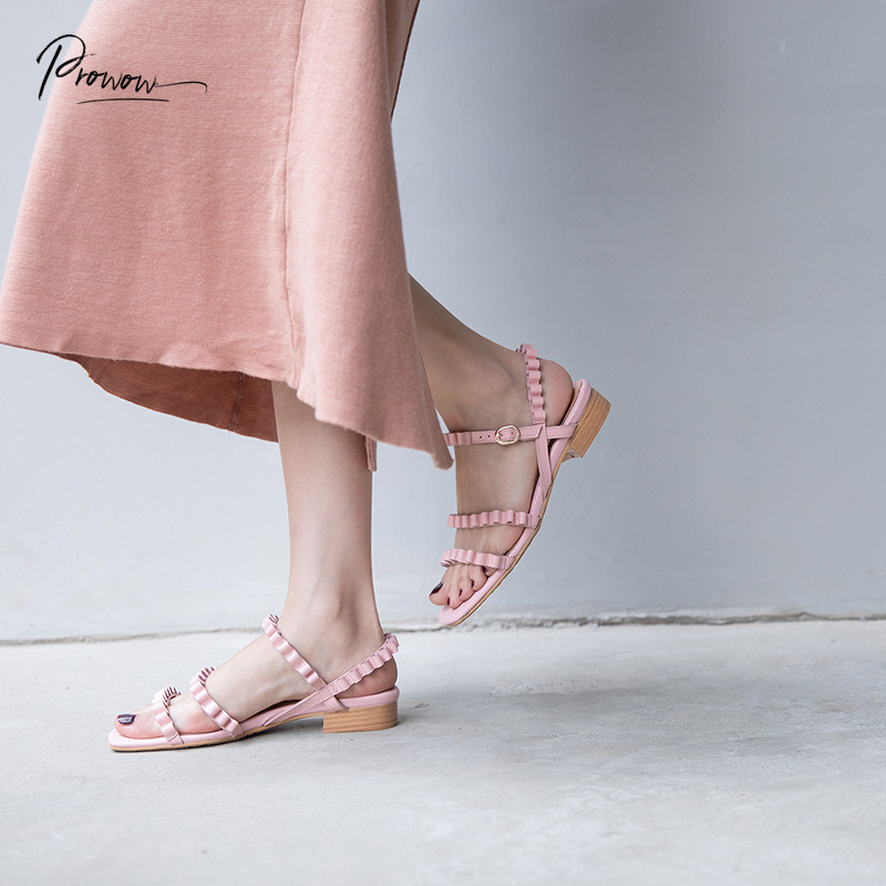 Prowow Fashion Style Genuine Leather Women Summer Gladiator Sandals Black Pink Open Toe Buckle Women Sandals Casual Shoes Woman