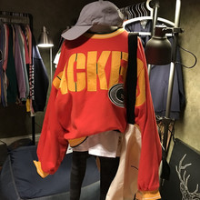 цена на 2019 English Letters Embroidered Patch Bat Sleeve Loose Size Color Terry Cotton Clothing Pullovers O-Neck Letter Sweatshirt