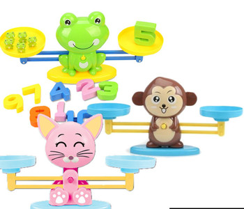 Montessori Math Match Game Board Toys Monkey Puppy Balancing Scale Number Balance Games Baby Learning Toy Animal Action Figures flyingtown montessori teaching aids balance scale baby balance game early education wooden puzzle children toys