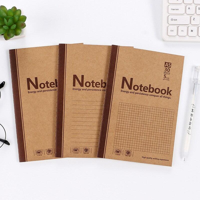 A5 Kraft Paper Cart Line Book Retro Creative Blank Horizontal Notebook 32K Student Supplies Homework Book Wholesale