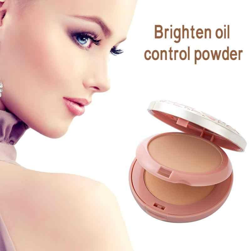 2 ألوان ماكياج الوجه مسحوق المعدنية أسس النفط السيطرة سطع مسحوق مضغوط مع لوحة نفخة كونتور مستحضرات التجميل TSLM2