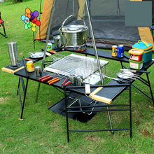 Outdoor Camping Portable Table Barbecue Multi-Function Combination Table Self-driving Picnic Table Net Shelf Folding Table Rack