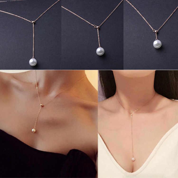 JWMUMA złoty kolor długi naszyjnik z pereł biżuteria srebrny naszyjnik kobiety prosta biżuteria ze stali nierdzewnej