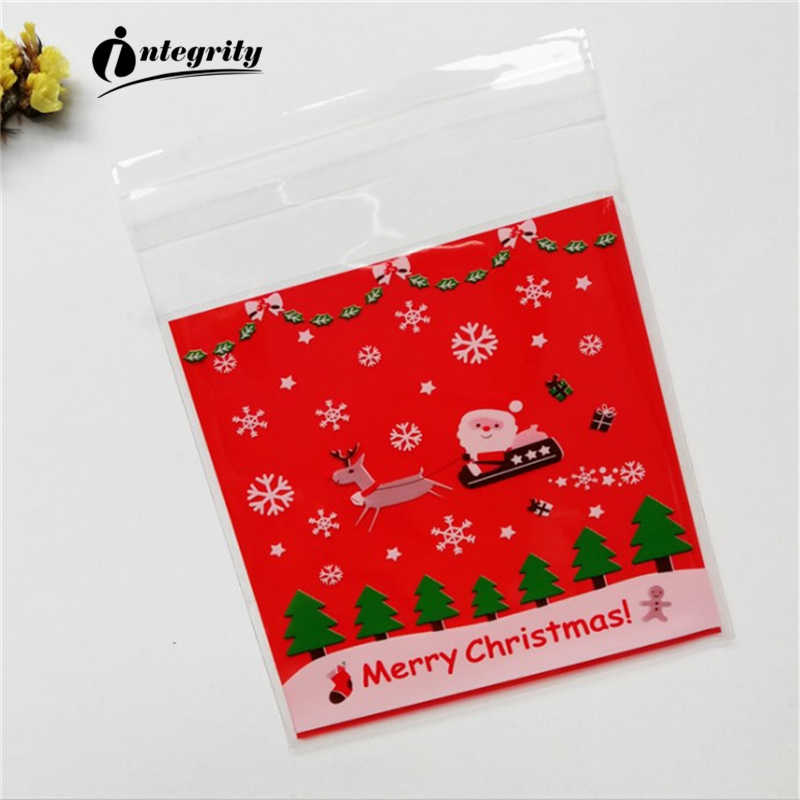 INTEGRITY 100pcs 10*10 Christmas Day Cookie Candy Bread Packaging Self-adhesive Plastic Biscuits Snack Baking Package cute bags