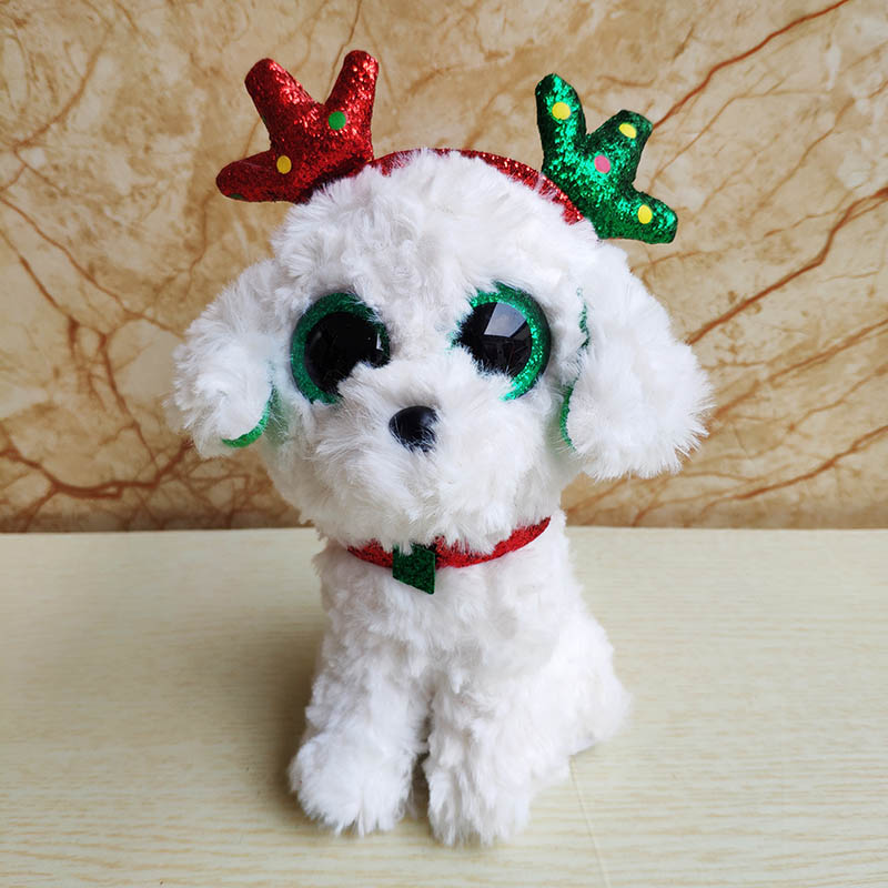 Holiday Kids Plush Toys 2020 Christmas Dogs Big eye stuffed animal plush toy sugar Christmas dog doll good