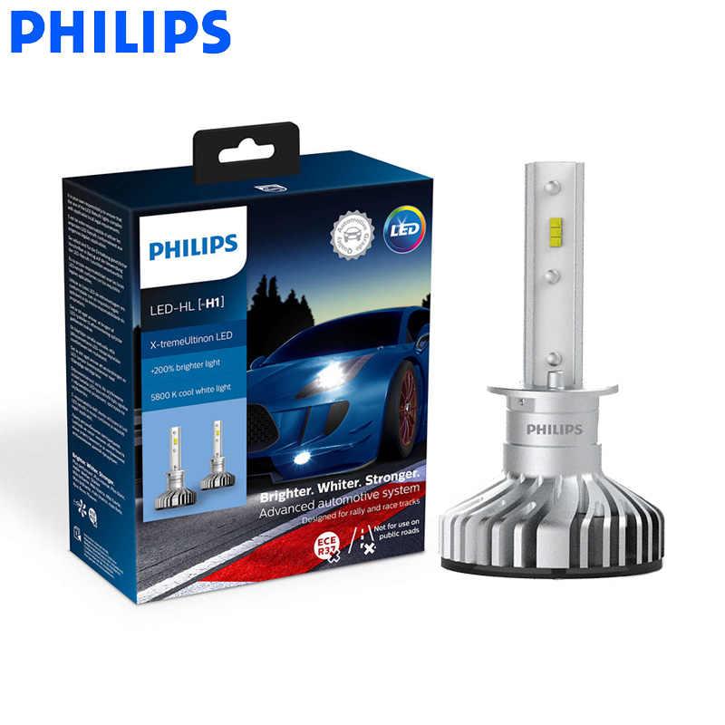 Philips X-treme Ultinon светодиодный H1 12 В 20 Вт Автомобильные 6000 К белые фары авто лампы + 200% ярче 12 лет жизни 11258XUX2, 2X