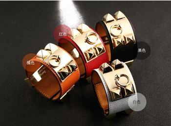 20 cm Fashion women's wide titanium steel rivet belt buckle bracelet