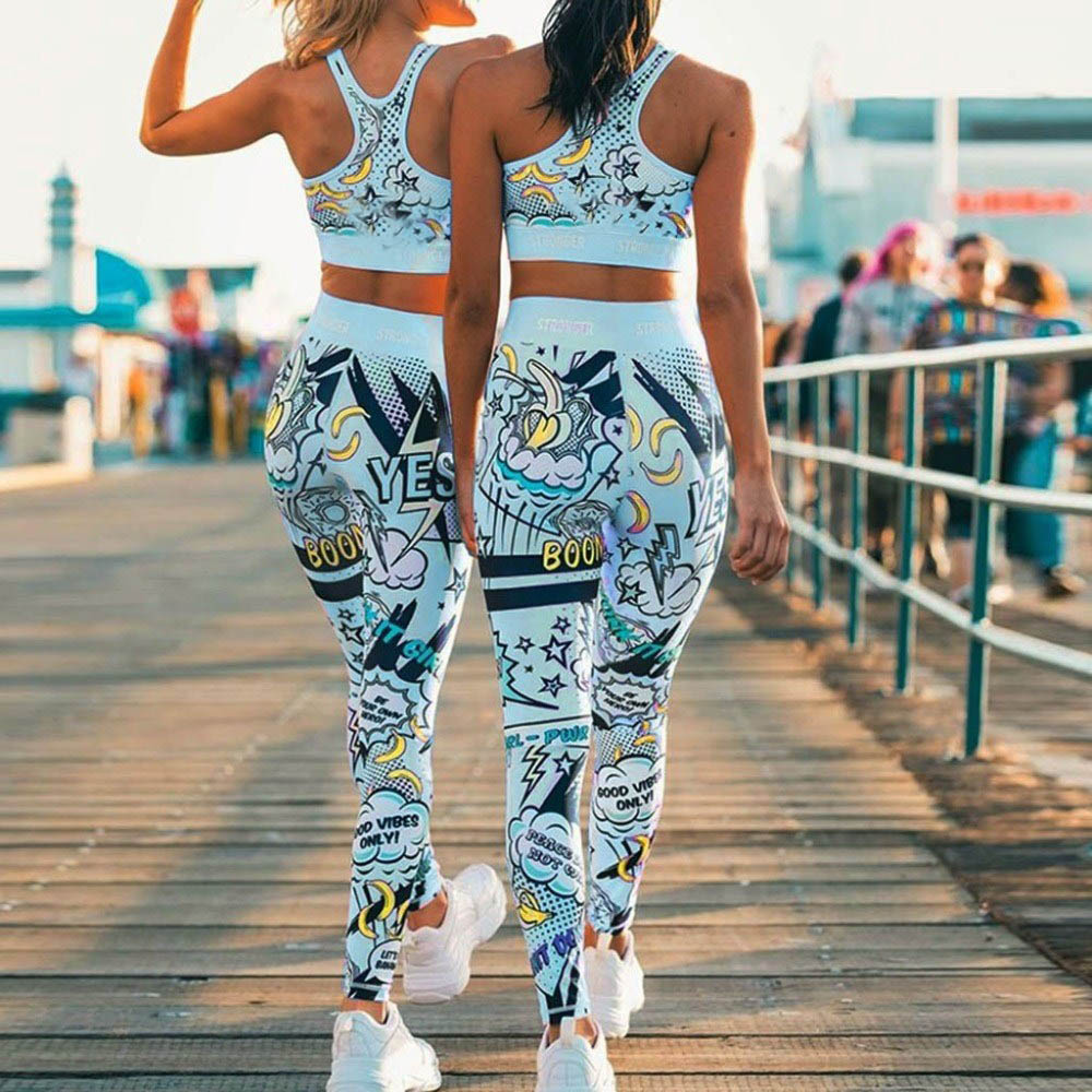 EOEODOIT Women Gym Leggings Jogging Sets 2 Pcs Empire Workout Sport Pant Print Flower High Waist Elastic Fitness Hip Push Up Bra