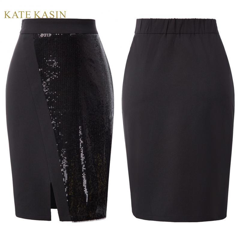 Kate Kasin Women Sequin Patchwork Black Pencil Skirt Slim Fit Office Skirt Elastic Waist Front Split Hips-Wrapped Bodycon Skirt