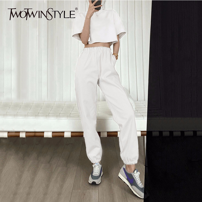 TWOTWINSTYLE Casual Women Two Piece Set O Neck Short Sleeve Corp Top High Waist Loose Ankle-Length Pants Summer Suit Female Tide