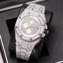 Silver iced out Mens diamonds watch super quality iced out quartz watches chronograph function works with box black out watch box