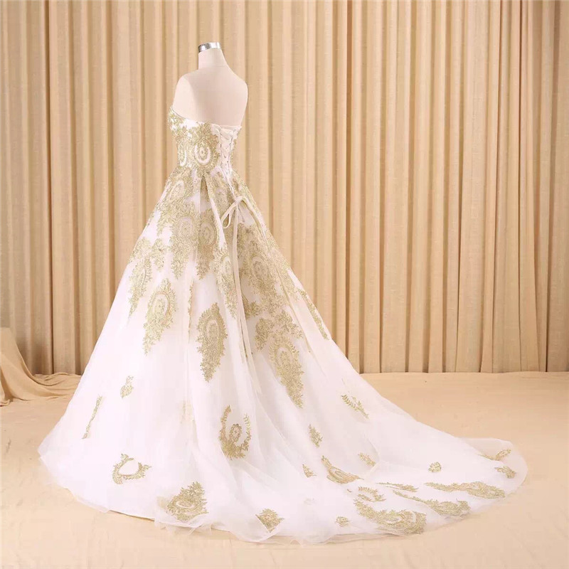 Image 3 - vestido de noiva real photo Luxury A Line Embroidered Gold Applique Beaded Sweetheart bridal gown mother of the bride dressesMother of the Bride Dresses   -
