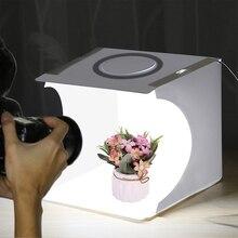 Mini Led Lightbox Produtos Atirar Caixa Fácil Usado Photo Studio Softbox Luz Fotografia Caixa de Telefone do Fundo Da Foto Kit Para DSLR