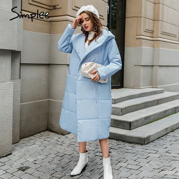Simplee casual light blue autumn winter women long parkas Warm hooded long sleeve female jacket High street Down Jackets 2020