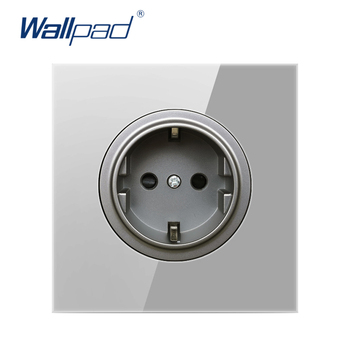 цена на Wallpad EU German Wall Power Socket Outlet Crystal Glass Panel 16A Grounded With Child Protective Lock