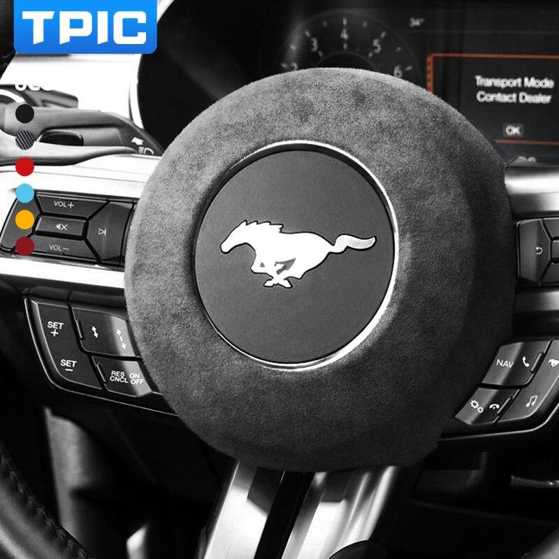 Автомобильная накидка на руль TPIC из алькантары, подушка безопасности из АБС-пластика для Ford Mustang 2015-2021, внутренняя отделка полосы, аксессуар...