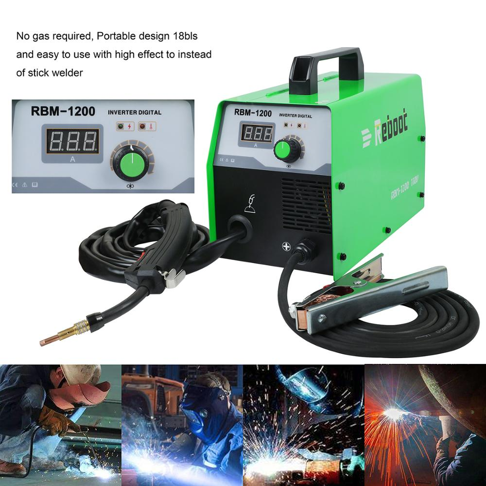 Reboot Mig Welder 220V No Gas Steel Welding Machine Flux Cored Wire MIG 120 Inverter Welding Machines Home Use Tool Mig Welding