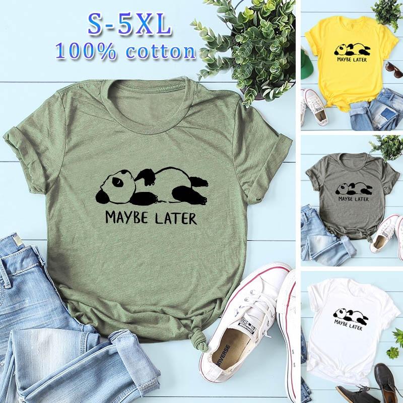 Plus Size S-5XL New Lovely Panda Letter Print T Shirt Women 100% Cotton O Neck Short Sleeve Summer T-Shirt Tops Casual T Shirts(China)