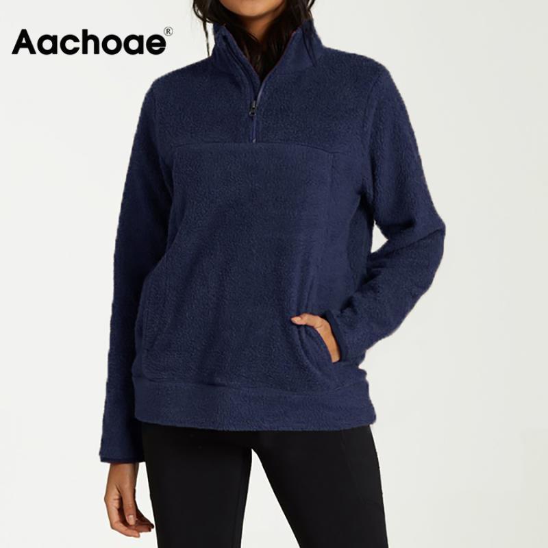 Women Hoodies Autumn Winter Warm Zipper Pocket Hoodie Casual Long Sleeve Fleece Pullover Solid Color Women Teddy Sweatshirts