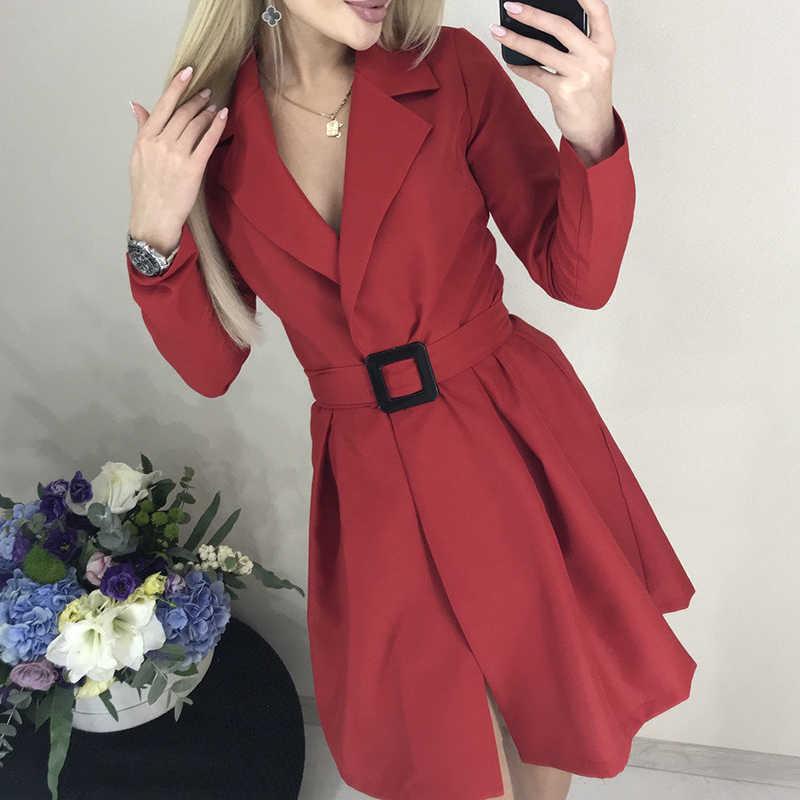 Mulheres casual faixas uma linha mini vestido de escritório senhoras vire para baixo colar ol vestido sólido 2019 outono inverno nova moda vestido feminino