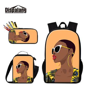Fashion Girl Cartoon Prints Schoolbag with Cooler Totes 3 Pcs in 1 Set Satchel Girls Lovely Backpacks Pattern Pencil Case