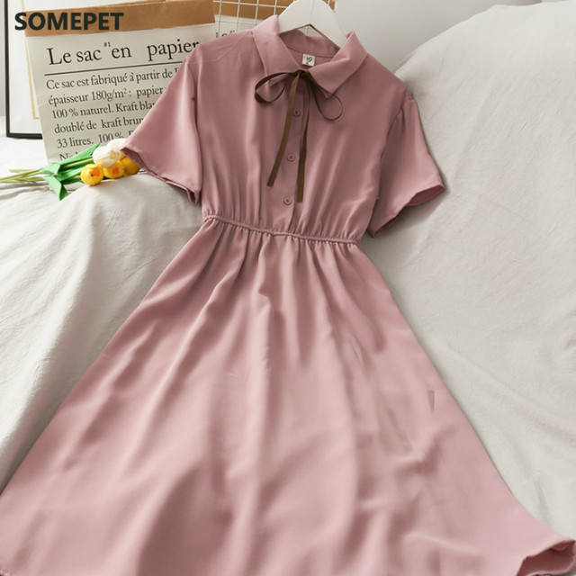 Dress Women Chiffon Bow Solid High Waist Turn-down Collar Preppy Style Popular Temperament Girls Summer Holiday 3
