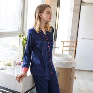 Image 3 - JULYS SONG Pijama de satén de seda de imitación para mujer, ropa de dormir de manga larga, para primavera y verano