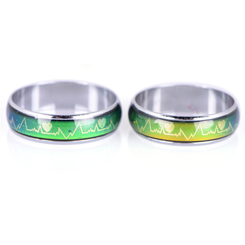 Emotion Feeling Changeable Mood Heart Rate Colorful Changing Magic Stainless Steel Couple Finger Ring Engagement Christmas Gift 2