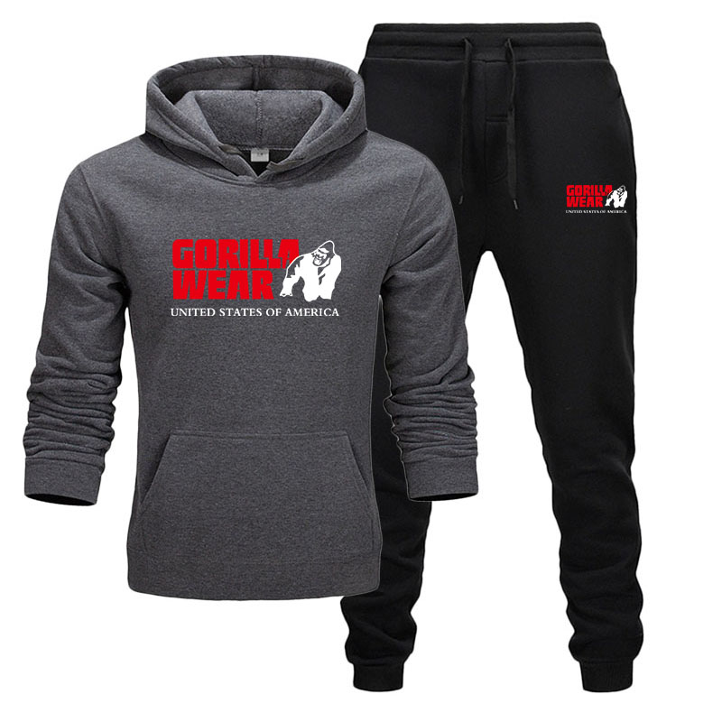 2020 Fashion Track And Field Sportswear GORILLA WEAR Sportswear Two-piece Sportswear Cotton Hoodie + Pants Sportswear