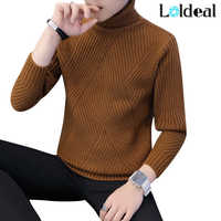 Loldeal Winter Thick Warm Sweater Men Turtleneck Irregular Stripe Sweaters Slim Fit Pullover Sueter Hombre Knitwear Pull White