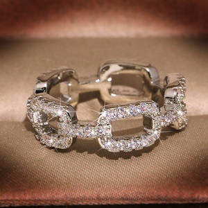 Chain-Ring Jewelry Zircon Wedding-Engagement Bling Women Silver-Color Fashion with Stone