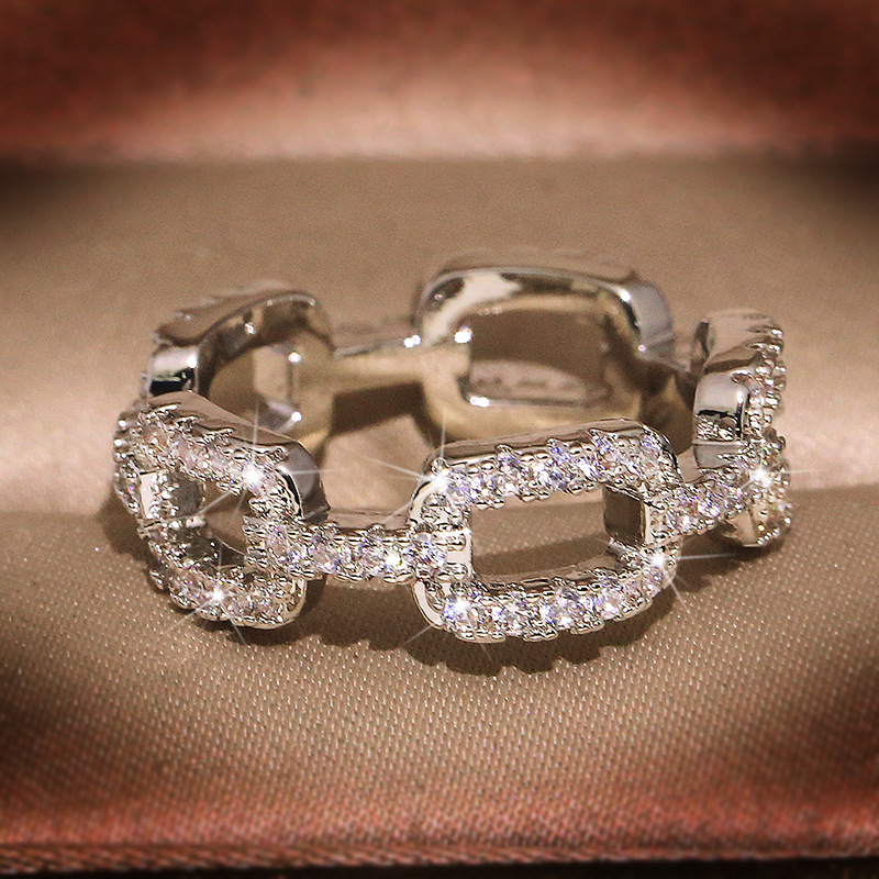 2020 New Silver Color Chain Ring with Bling Zircon Stone Rings for Women Wedding Engagement Fashion Jewelry