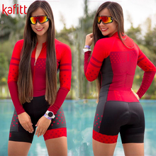 Women's Cycling Jersey Triathlon-Suit Long-Sleeve Kafitt Swimwear Tights One-Piece Pro
