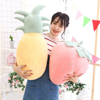 3pcs Pineapple Strawberry fruit vegetable food Anti stress soft creative pillow cushion plush doll girl hobby Children toy gift