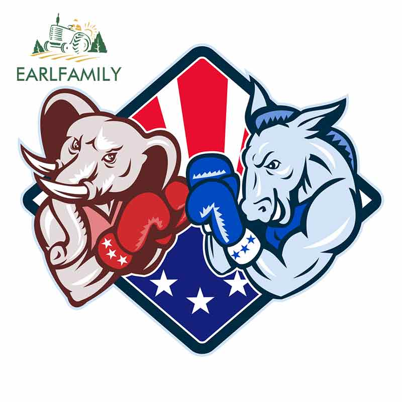 EARLFAMILY 13cm x 11.2cm For <font><b>Democrat</b></font> Donkey Republican Elephant Body For Car <font><b>Stickers</b></font> Custom Printing Decal Sunscreen Decor image