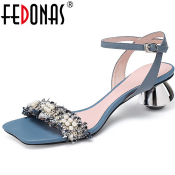 FEDONAS Pearl Decoration Sweet Women Sandals Fashion New Summer High Heels Pumps 2020 Peep Toe Wedding Office Lady Shoes Woman