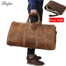 Sac de voyage en cuir véritable grande capacité pour hommes sac de voyage en cuir de cheval fou Durable sac de voyage en cuir véritable grand sac de week-end à bandoulière(China)