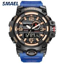 Marka SMAEL nowe sportowe męskie zegarki podwójny czas wodoodporny zegarek wojskowy mężczyźni moda analogowy cyfrowy nadgarstek zegarek Relogio Masculino