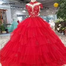 LSS265妖精レッドウェディングパーティードレスハイネックキャップスリーブオープンバックアップリケケーキスタイルのウェディングドレスより重層王女ドレス