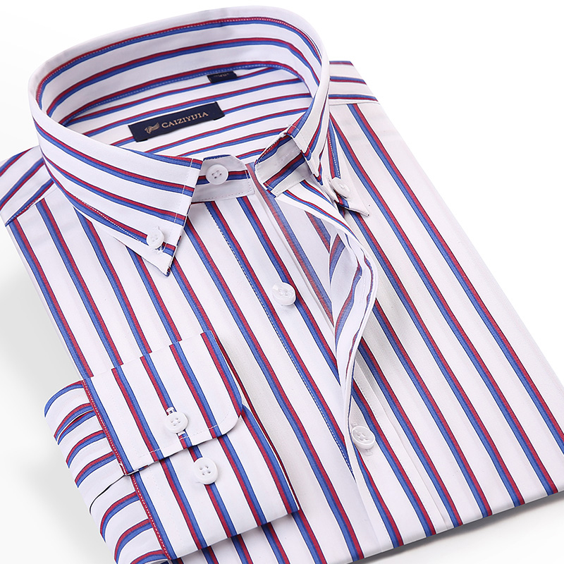 Men's Button-down Contrast Striped Dress Shirts Pocket-less Design Long Sleeve Standard-fit Casual Bamboo Fiber Shirt