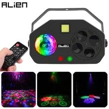 ALIEN uzaktan RGB 4 IN 1 LED Gobo Strobe sihirli top lazer projesi DMX sahne aydınlatma etkisi DJ disko parti tatil düğün ışık