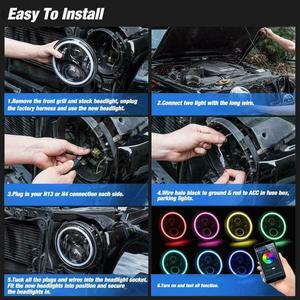 Image 5 - RGB Halo 7 Inch Led Headlight   Plug And Play Bluetooth Led Angel Eyes Headlight Sealed Beam For Jeep Wrangler CJ JK Accessories