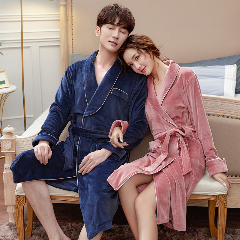 Kimono Winter Bath Robe Long Sleeves Sexy Night Wear Quality Velvet Soft Warm Men And Women Matching Night Gowns Men Sleepwear