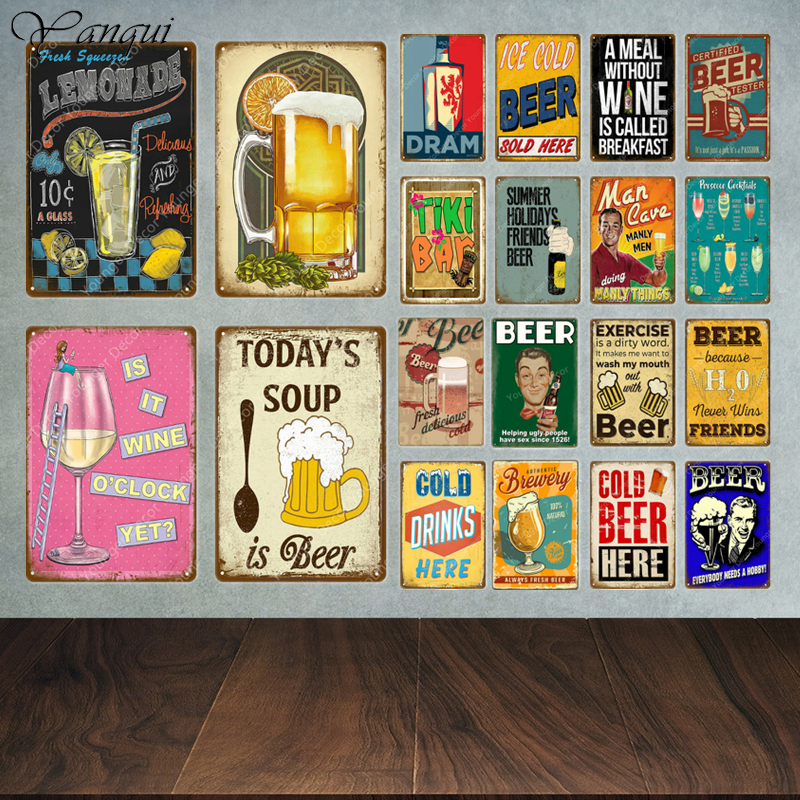 Funny Metal Tin Signs Beer Plaque Vintage Tiki Bar Metal Plate Wall Decor Man Cave Decorative Painting Wine Poster YA010(China)