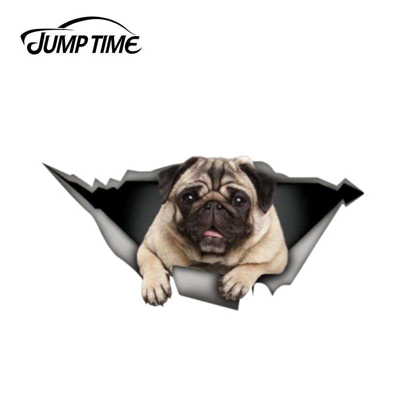 Jump Time 13cm X 6.2cm Pug Sticker 3D Pet Graphic Vinyl Decal Car Window Laptop Bumper Animal Car Stickers