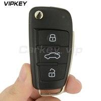 Remotekey Flip car remote key 8P0 837 220 D for Audi A3 TT 2006   2013 433 mhz with ID48 chip HU66 3 button 8P0837220D|Car Key|Automobiles & Motorcycles -