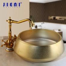 JIENI позолоченный керамический набор для раковины для ванной комнаты из стекла, ручная роспись, раковина с одним отверстием, Смеситель для холодной и горячей воды