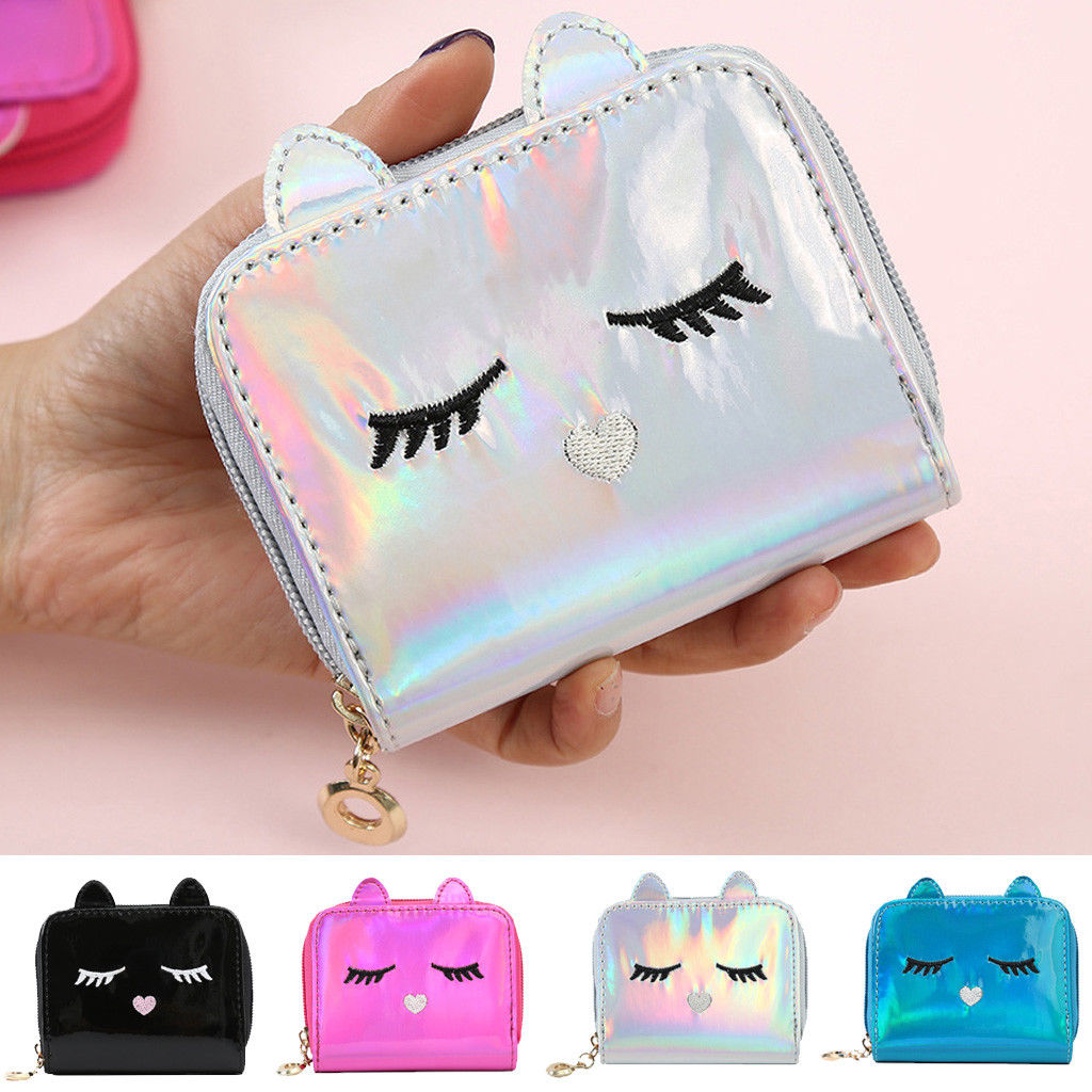 Women Sweet Cute Ladies Girls Kids Children Coin Purses PU Wallet Laser Clutch Purse Tassel Bag Mini Small Coin Bags