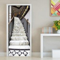 Nowoczesne schody konstrukcja drzwi naklejki salon sypialnia samoprzylepne wodoodporna Mural tapeta na ściany 3 D naklejki|Naklejki na drzwi|   -