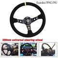 Универсальное замшевое рулевое колесо 350 мм, кожаное рулевое колесо для дрифта гоночного типа, высокое качество, стиль замша/ПВХ